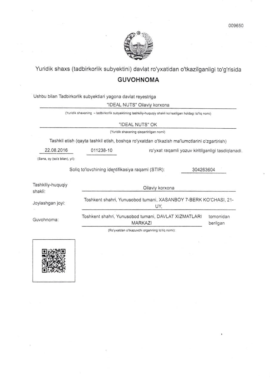 Certificate of state registration of a legal entity (business entity)